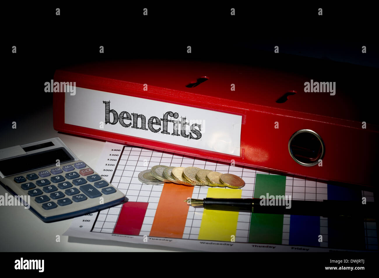Benefits on red business binder - Stock Image