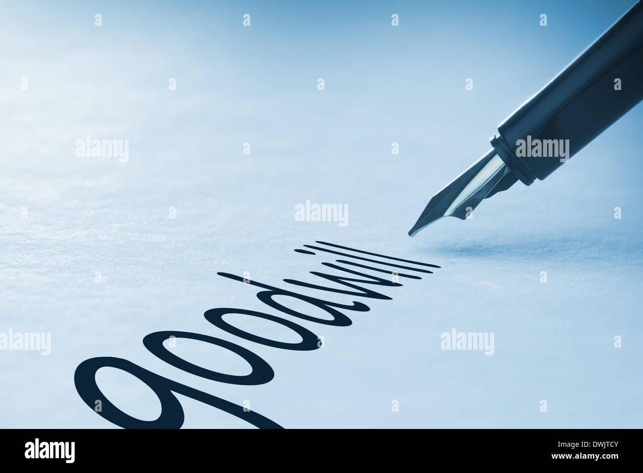 Fountain pen writing Goodwill - Stock Image
