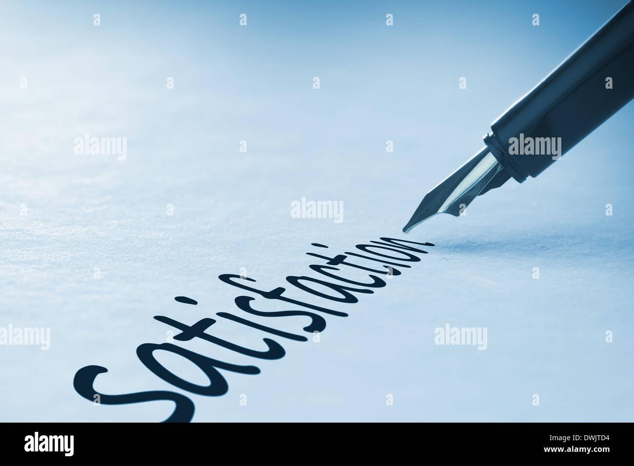 Fountain pen writing Satisfaction - Stock Image