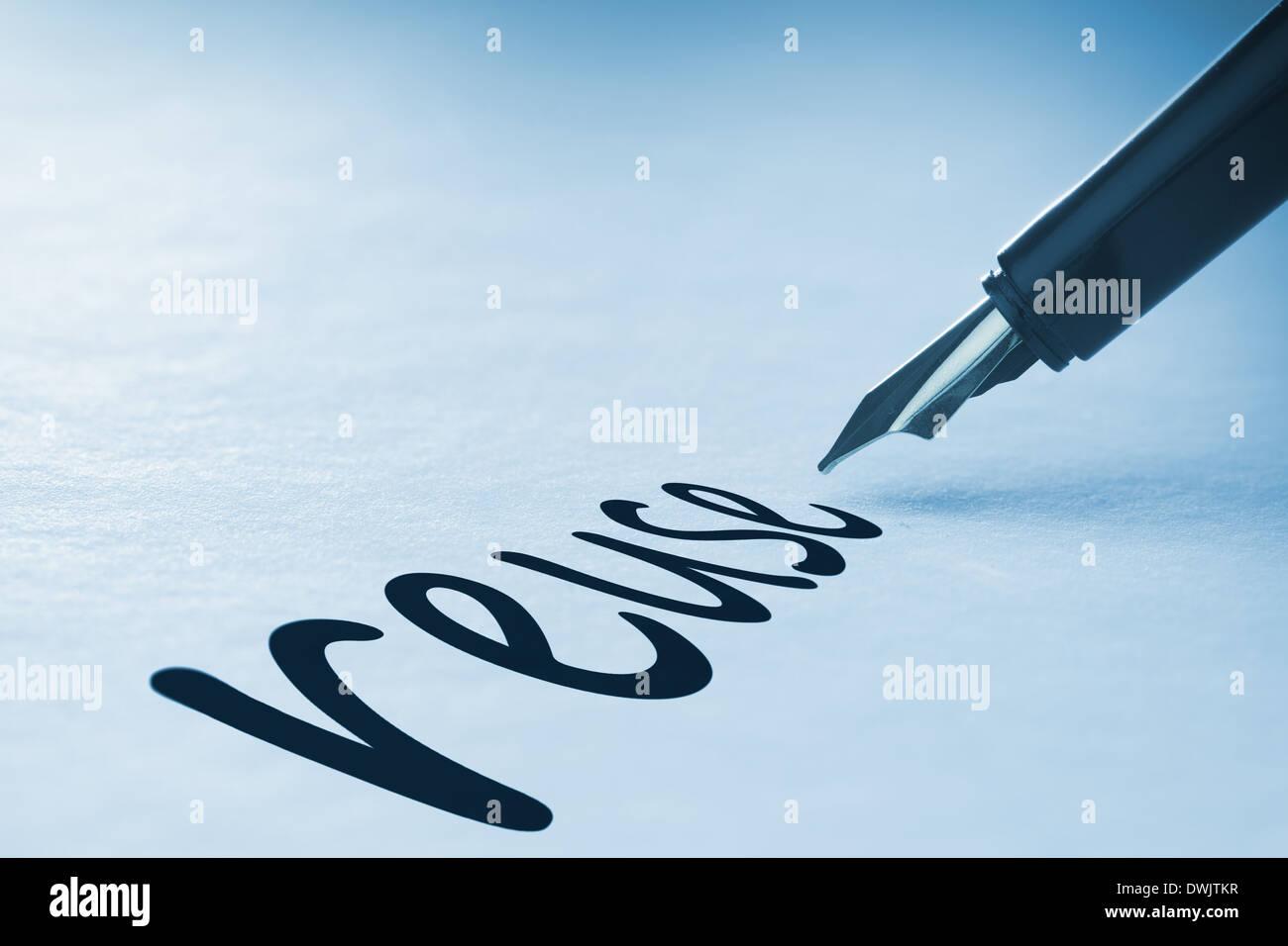 Fountain pen writing Reuse - Stock Image