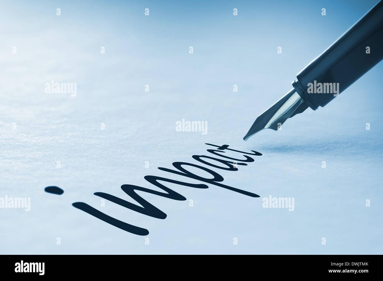 Fountain pen writing Impact - Stock Image