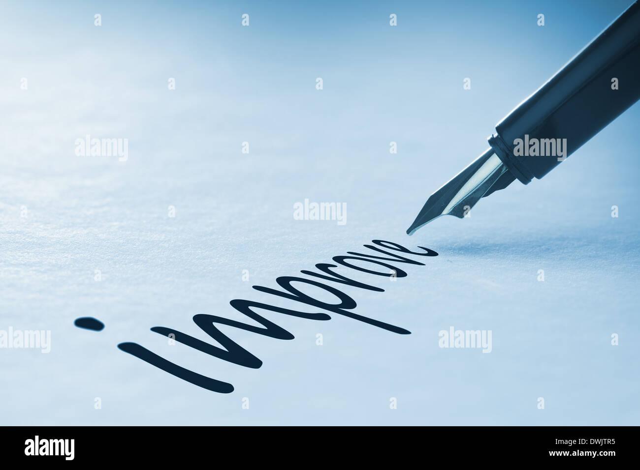 Fountain pen writing Improve - Stock Image
