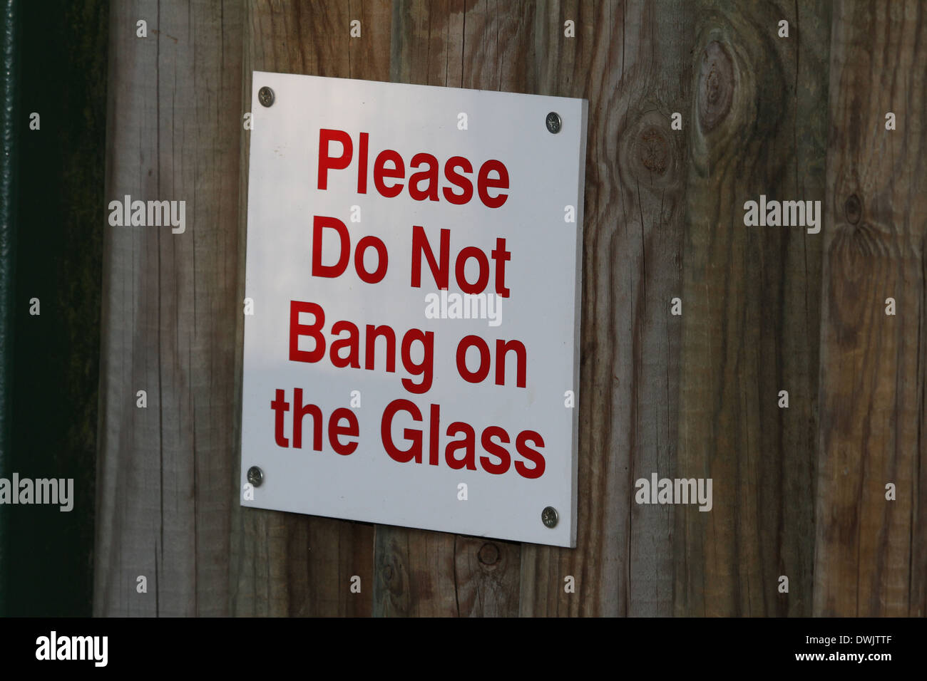 please do not bang on the glass sign screwed o wooded fence - Stock Image