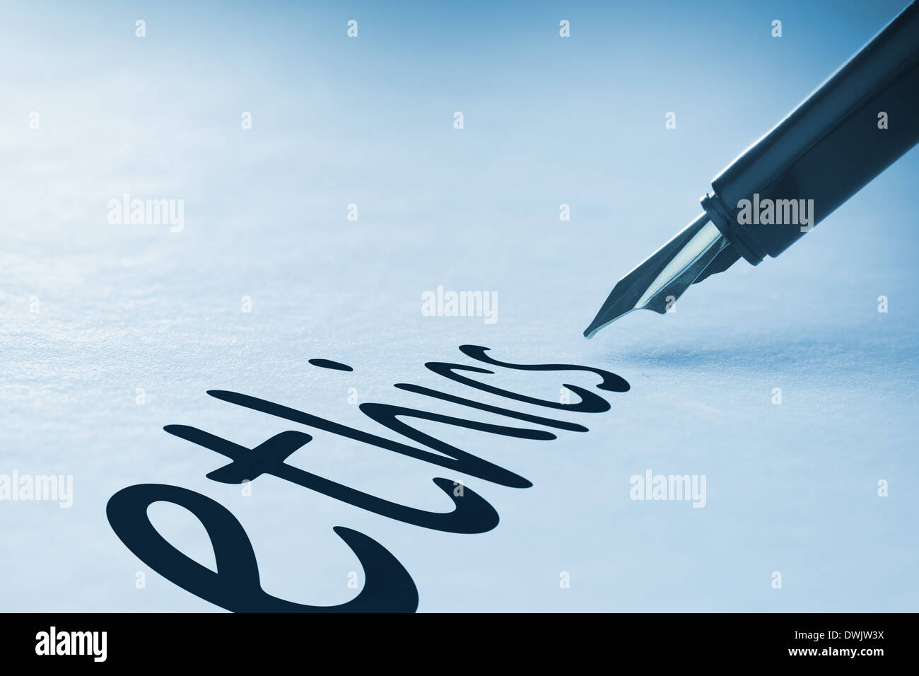 Fountain pen writing Ethics Stock Photo
