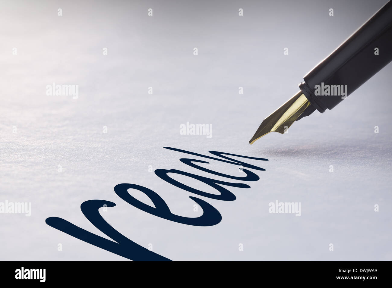 Fountain pen writing Reach - Stock Image