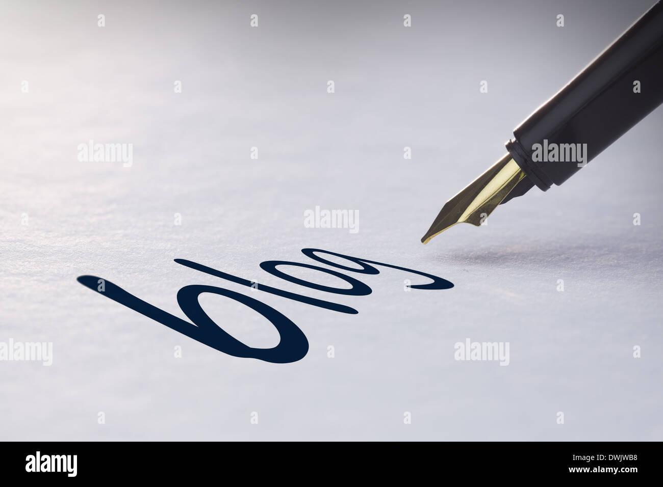 Fountain pen writing Blog - Stock Image