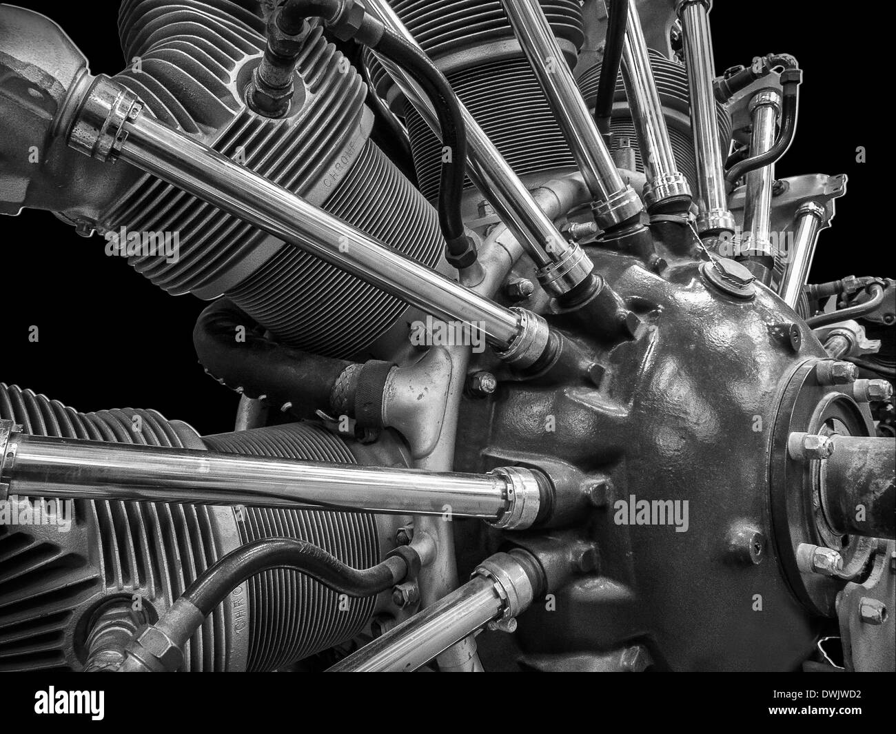 An editorial style black And white image of a1900's radial aircraft engine Stock Photo