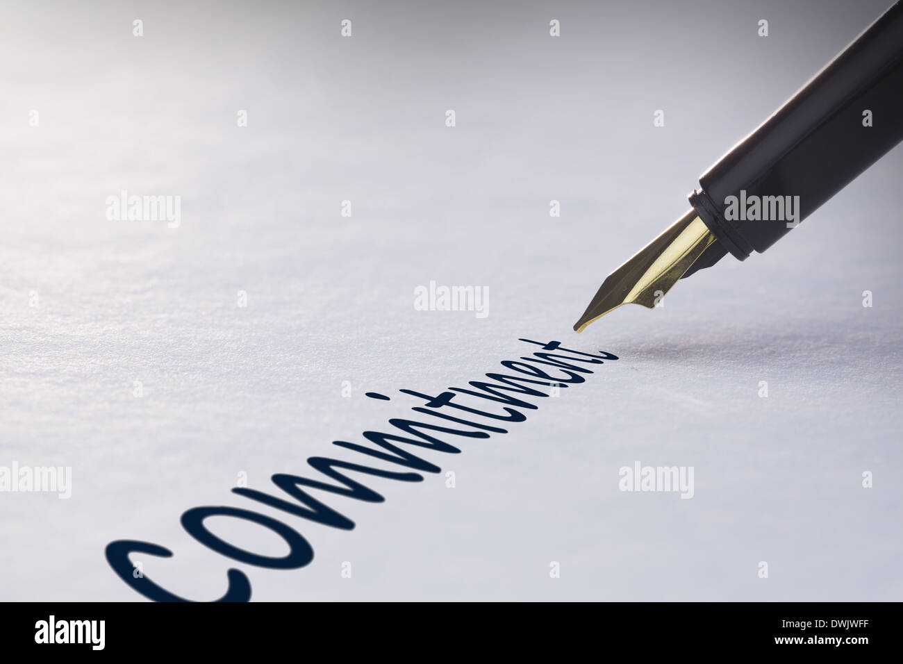 Fountain pen writing Commitment - Stock Image