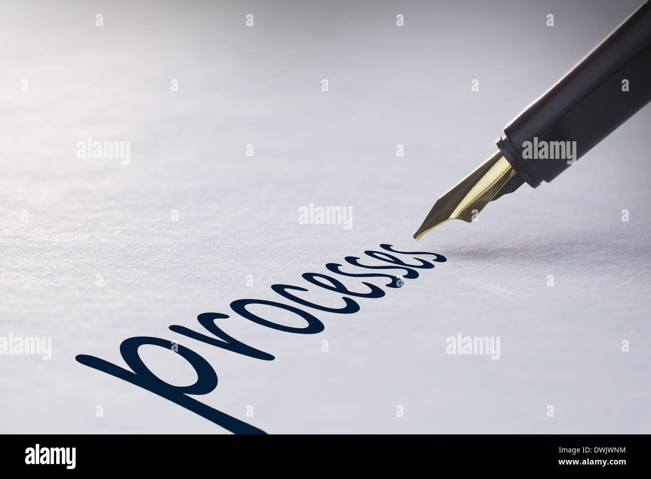 Fountain pen writing Processes - Stock Image