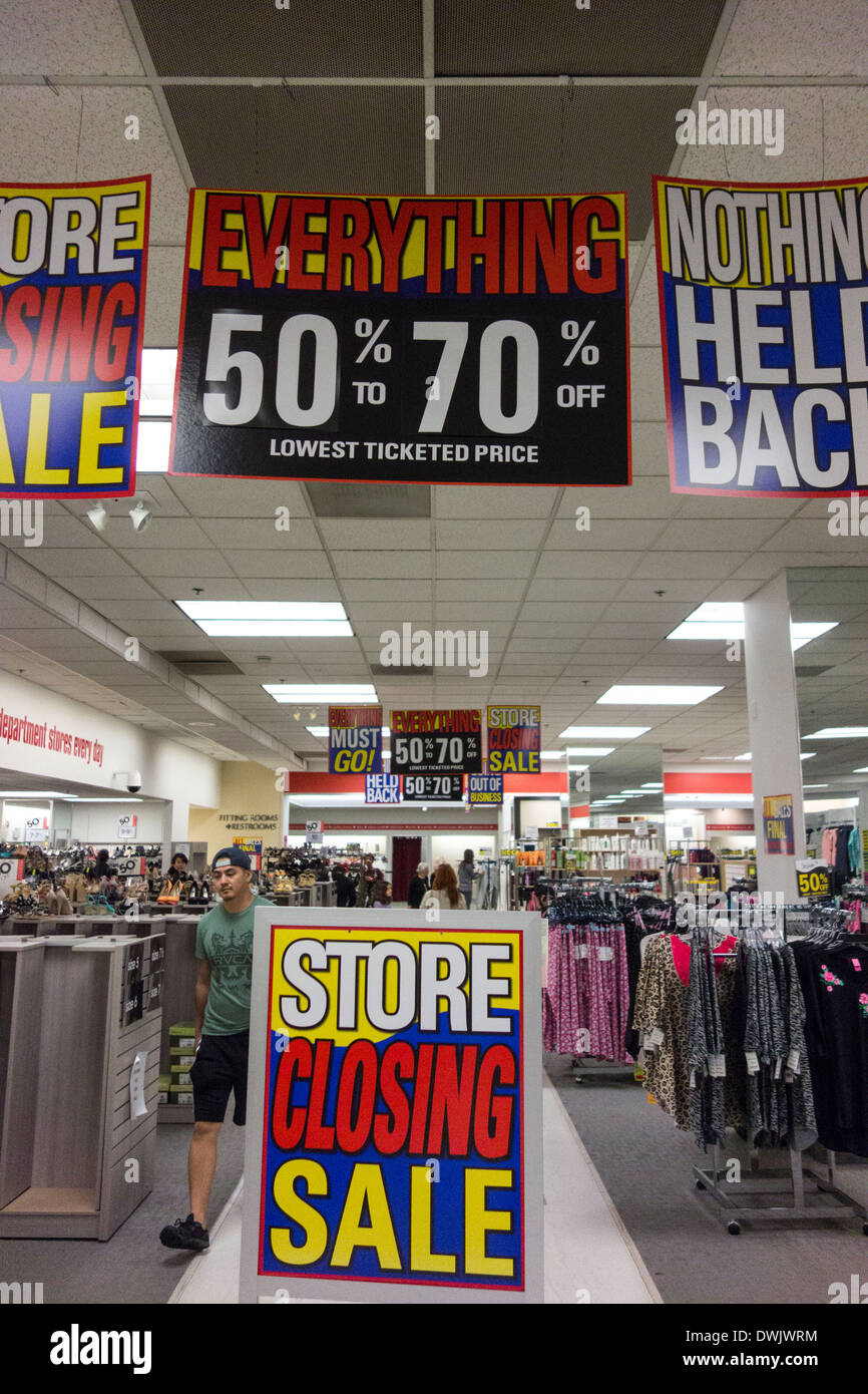 clothing store closing sale in Los Angeles; California USA - Stock Image