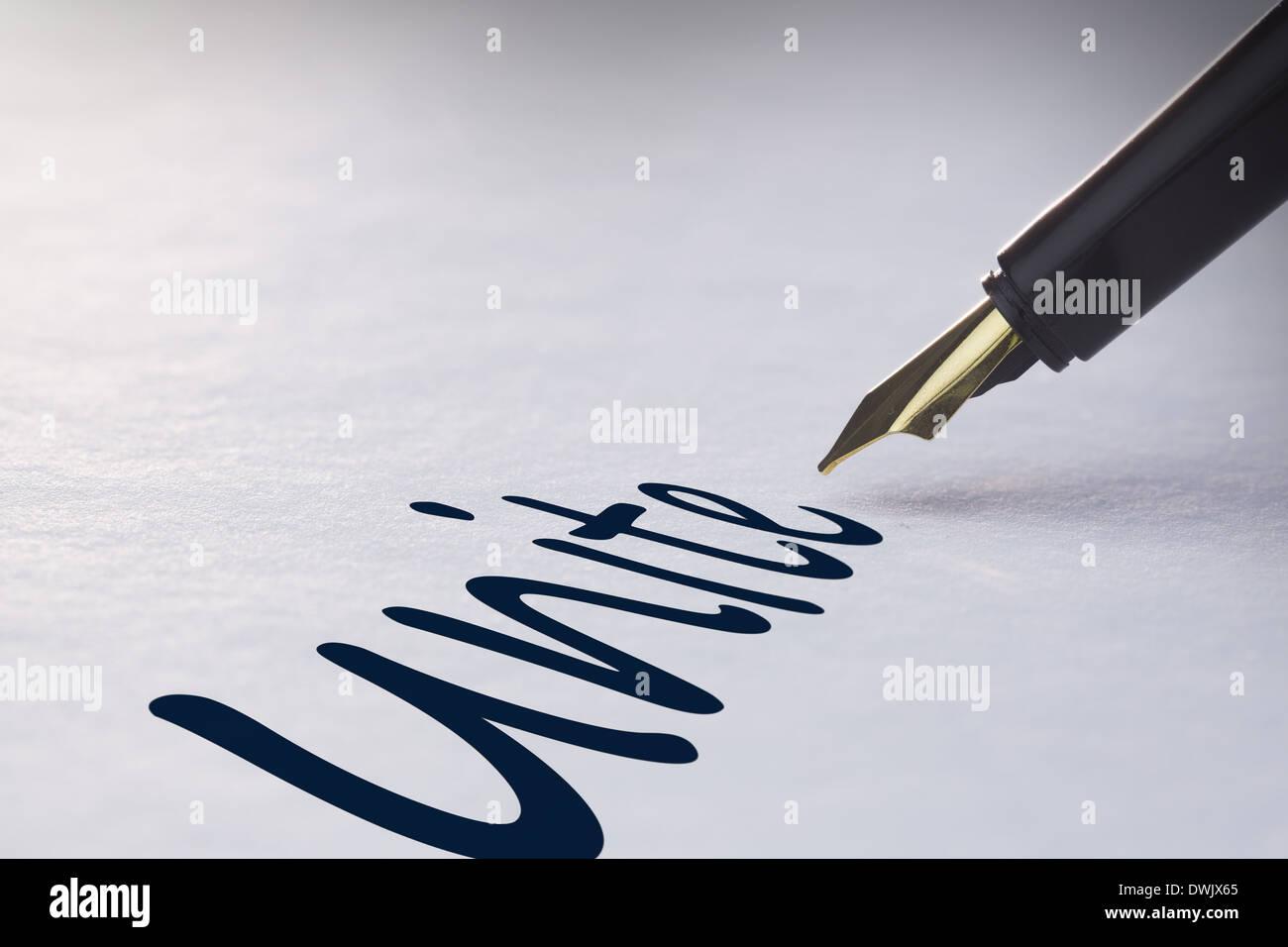 Fountain pen writing Unite - Stock Image