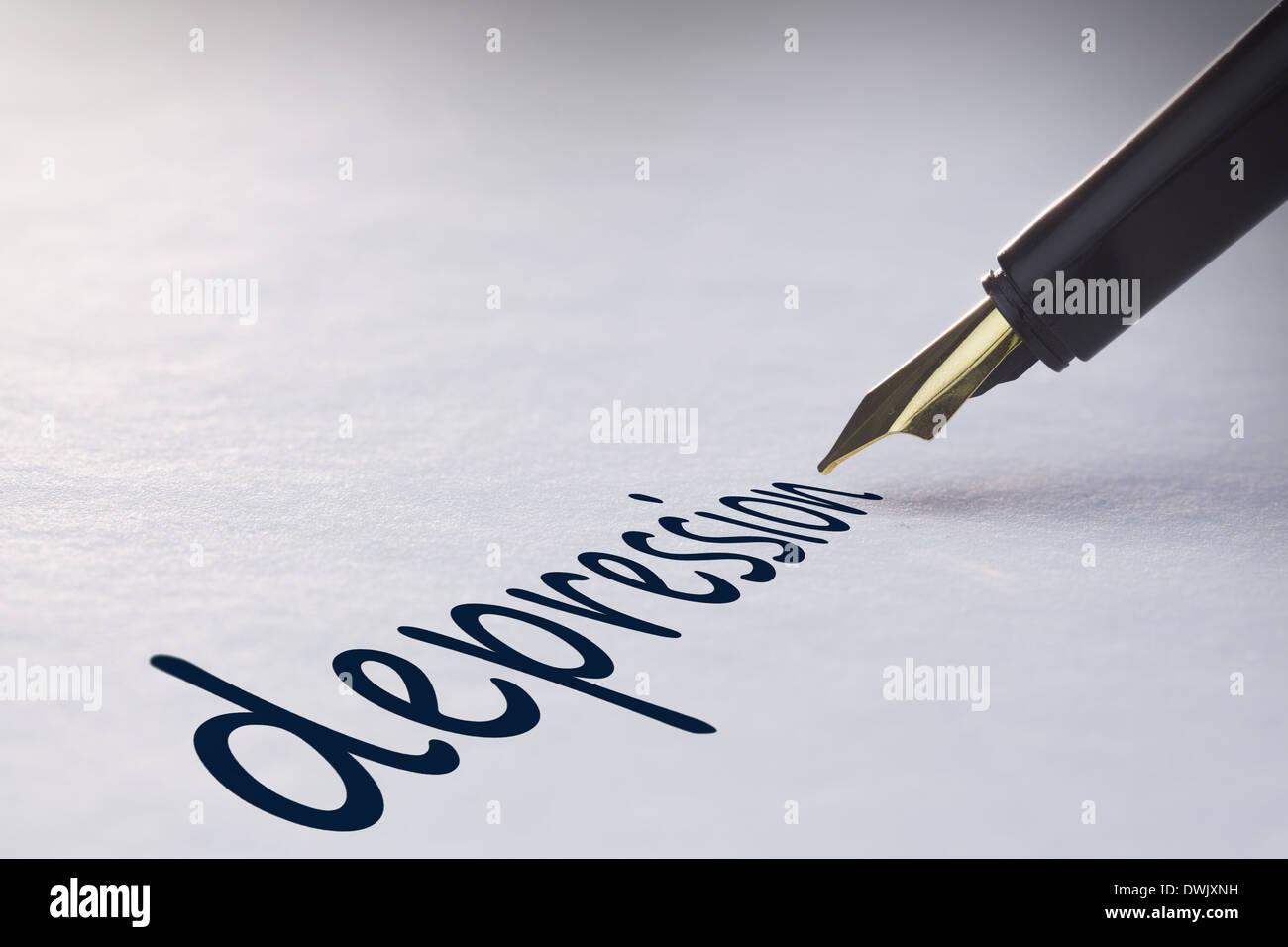 Fountain pen writing Depression - Stock Image