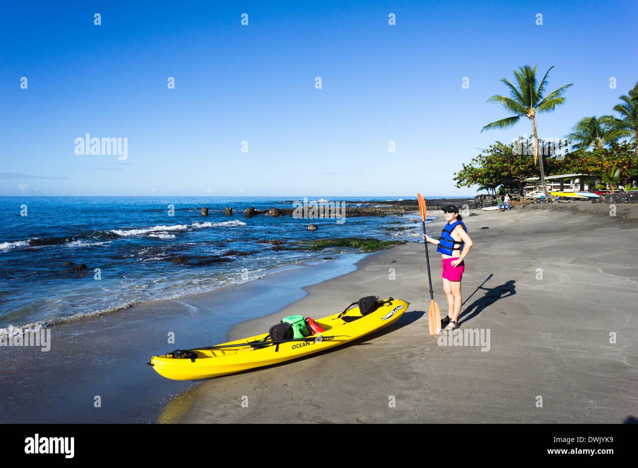 Girl with kayak on beach  Ho'okena Beach Park, The Big