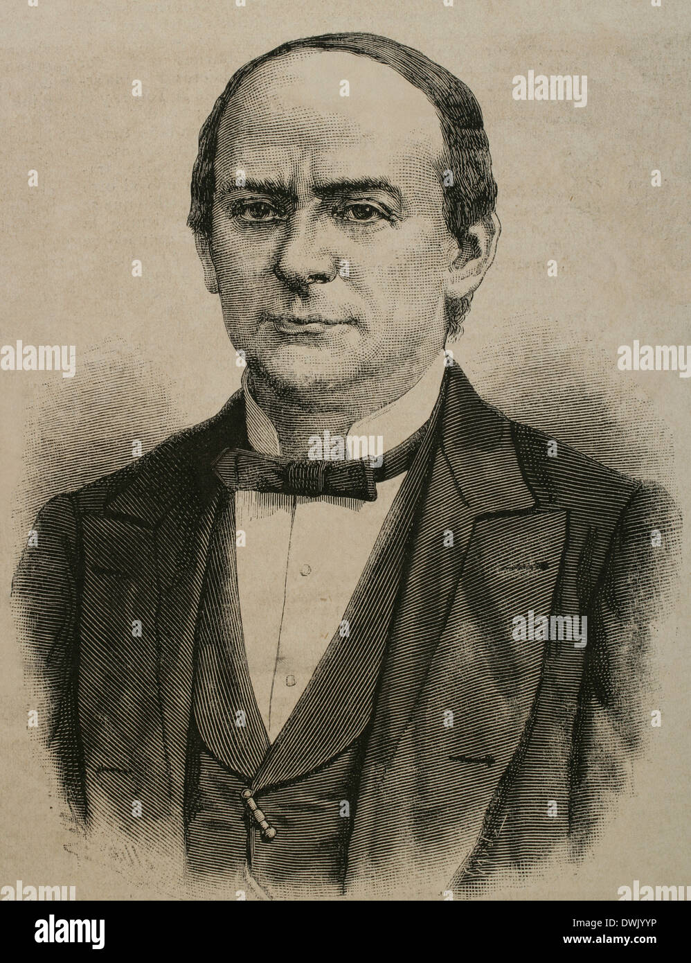 Sebastian Lerdo de Tejada (1823-1889). Jurist and Liberal president of Mexico. Engraving. - Stock Image