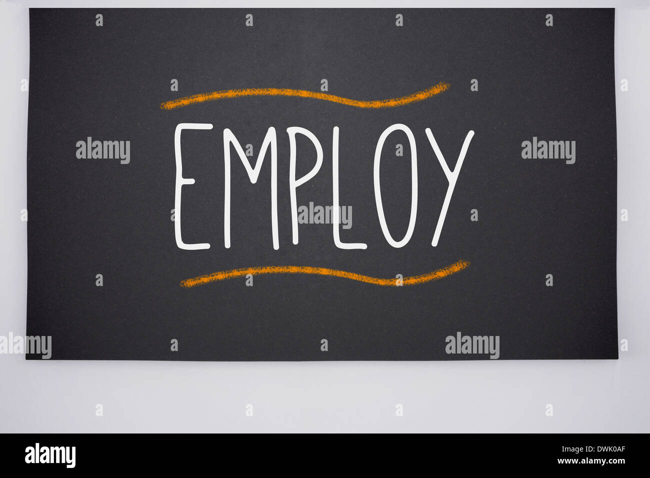 Employ written on big blackboard - Stock Image
