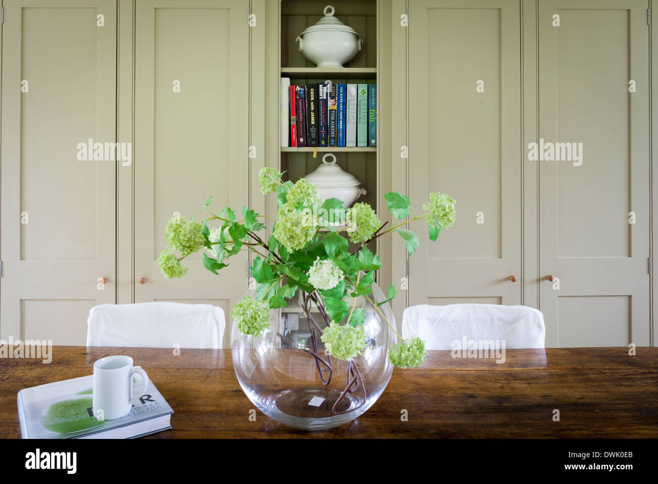 Hydrangeas in large glass vase in contemporary wooden kitchen - Stock Image