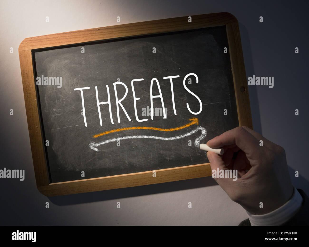 Hand writing Threats on chalkboard - Stock Image