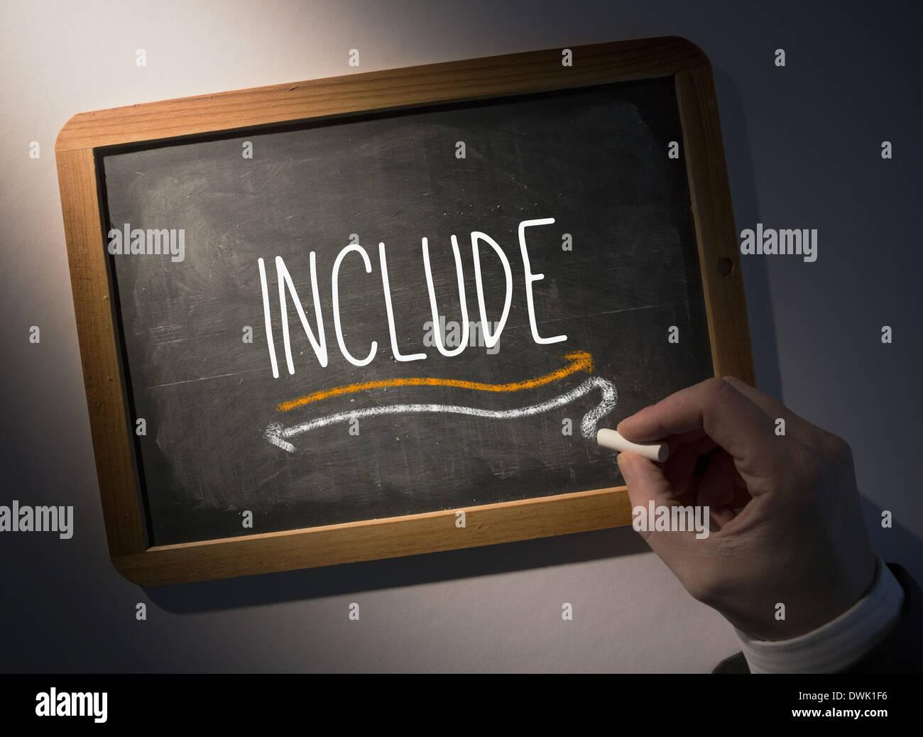 Hand writing Include on chalkboard Stock Photo