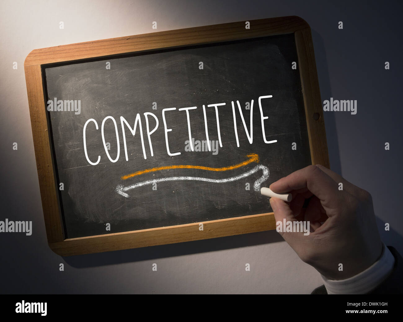 Hand writing Competitive on chalkboard - Stock Image