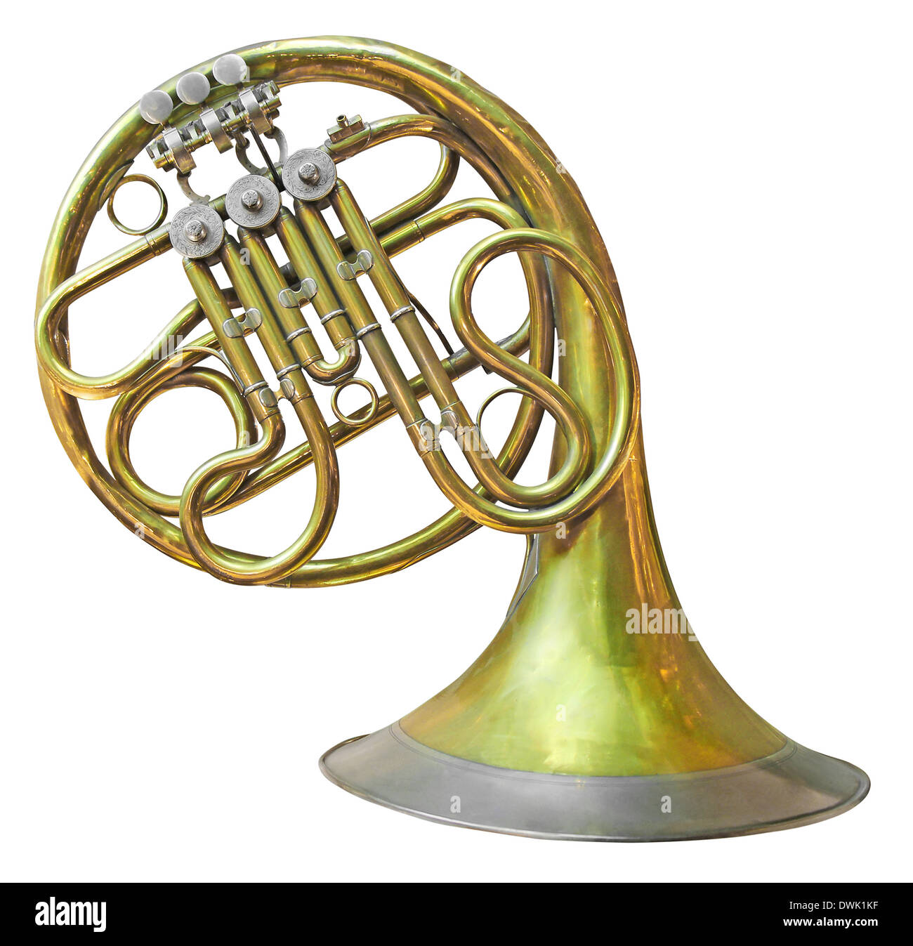 Old French Horn isolated on white with clipping path - Stock Image