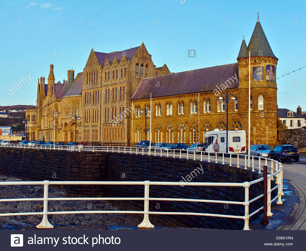 aberystwyth university college with mosiacs on the south tower - Stock Image