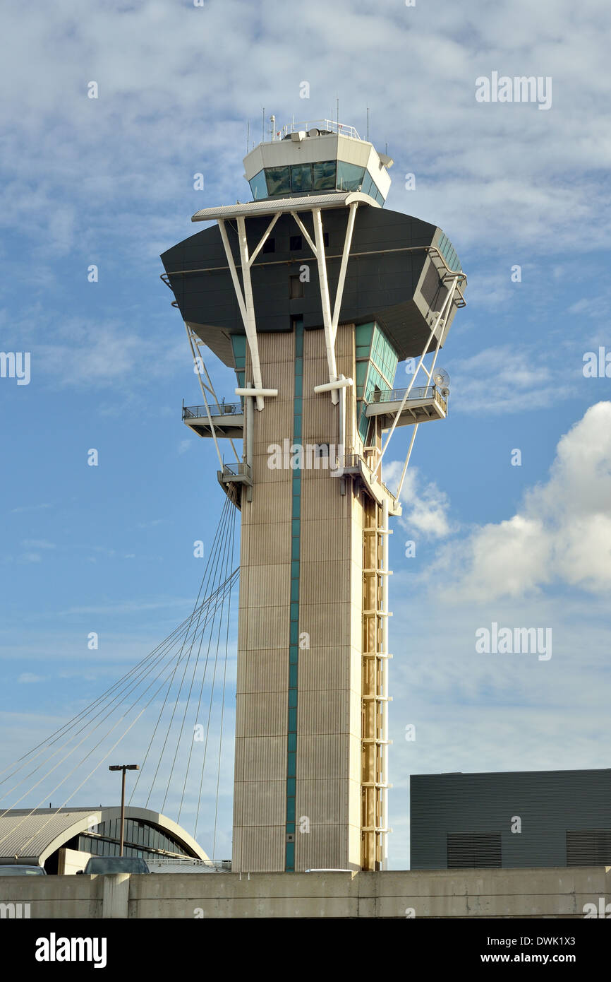 View of an air traffic control tower, Los Angeles International Airport, Los Angeles, California, USA - Stock Image