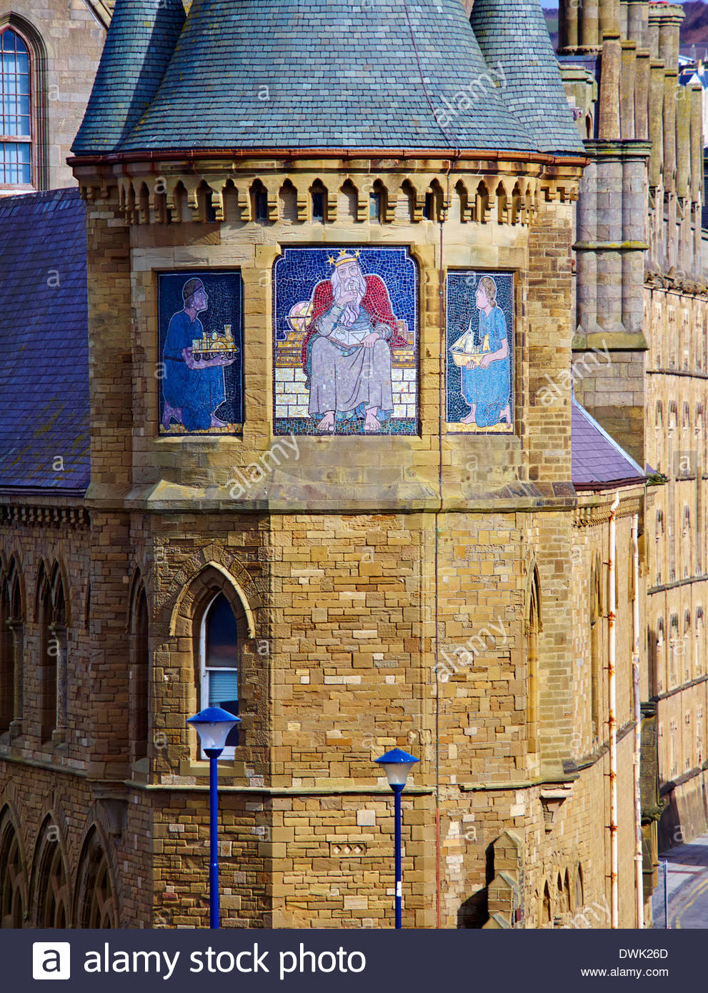 aberystwyth university college with mosaics of archimedes on the south tower in cardiganshire mid wales uk - Stock Image