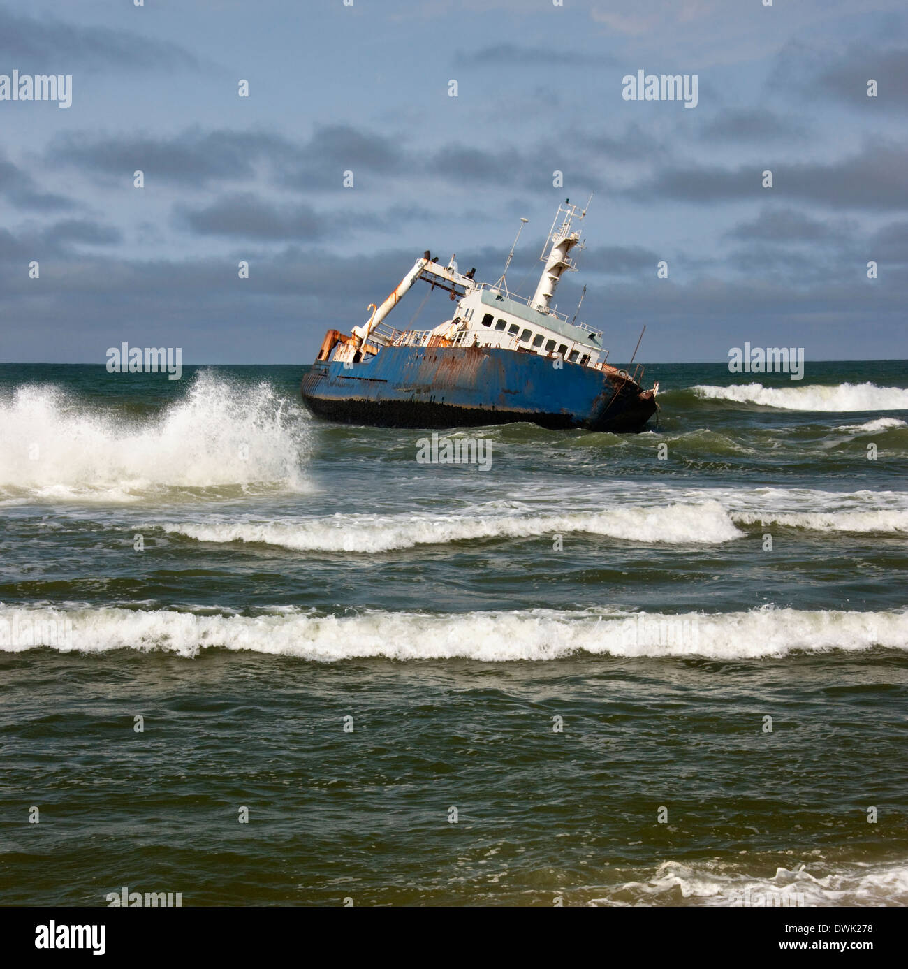 A shipwreck on the Skeleton Coast in Namibia - Stock Image