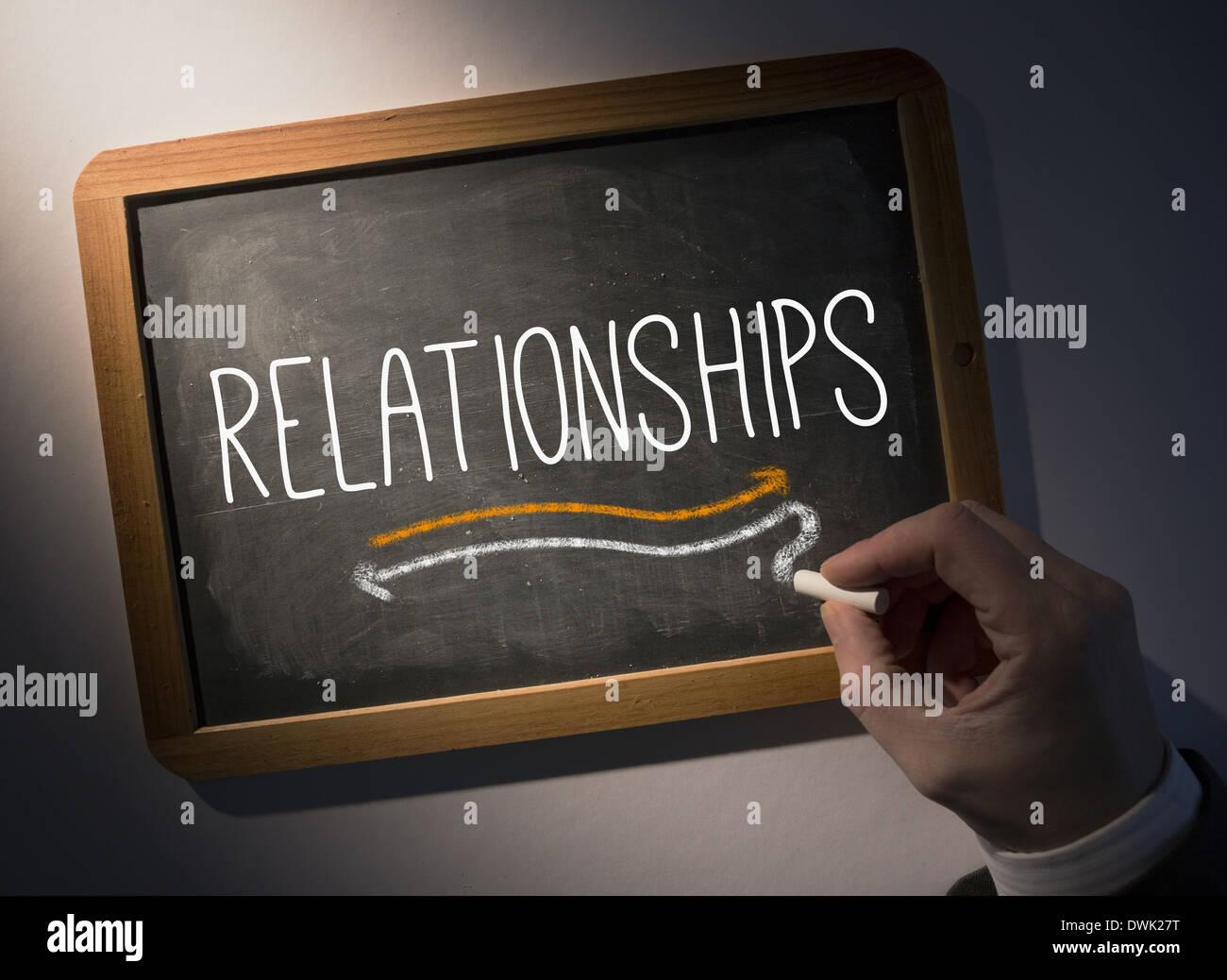 Hand writing Relationships on chalkboard - Stock Image