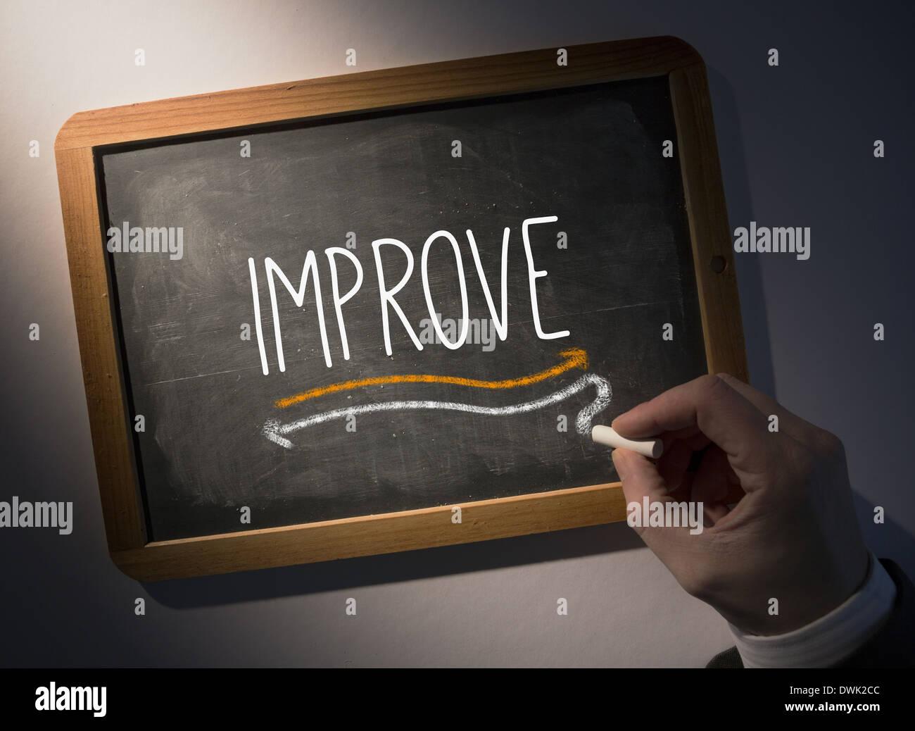 Hand writing Improve on chalkboard - Stock Image