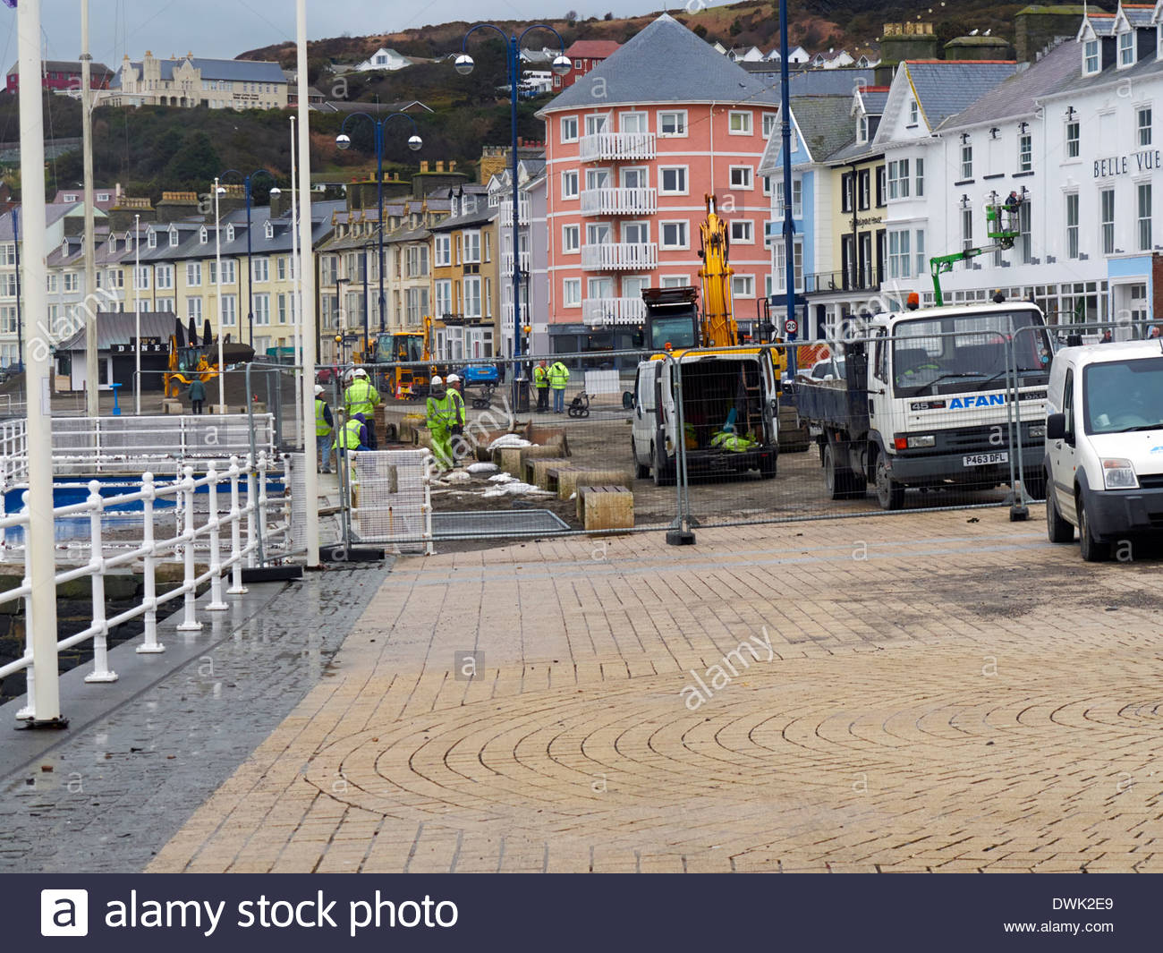 the big clean up operation begins in aberystwyth seaside after the devastating storms of 2014 - Stock Image
