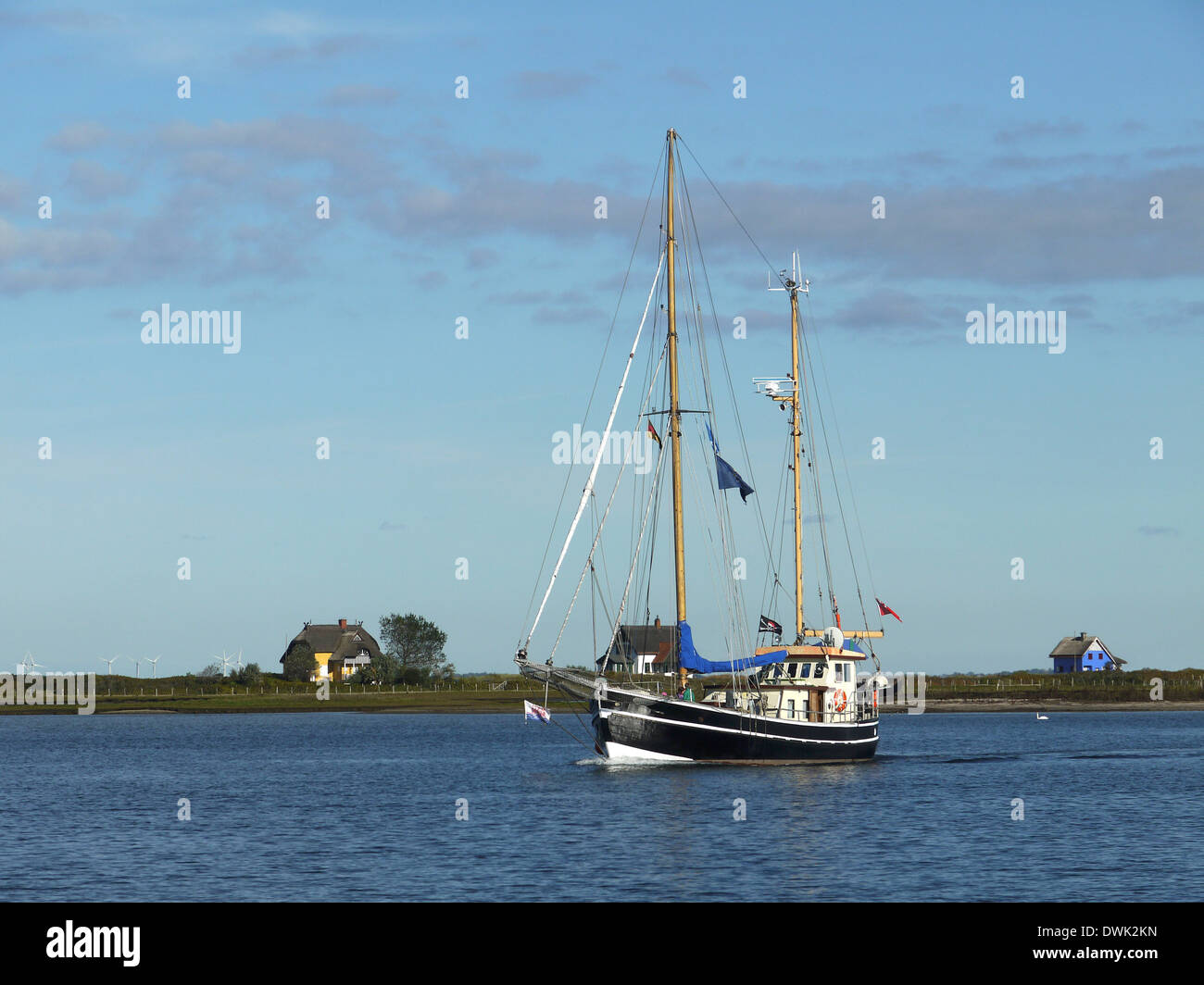 ketch in fehmarnsund, baltic sea, schleswig-holstein, germany - Stock Image