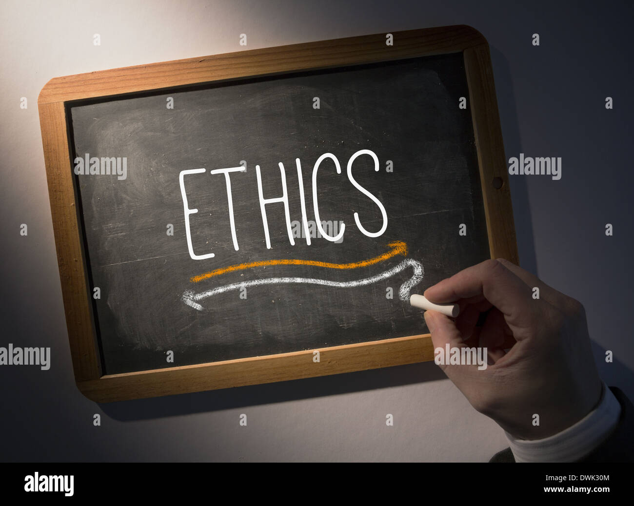Hand writing Ethics on chalkboard Stock Photo