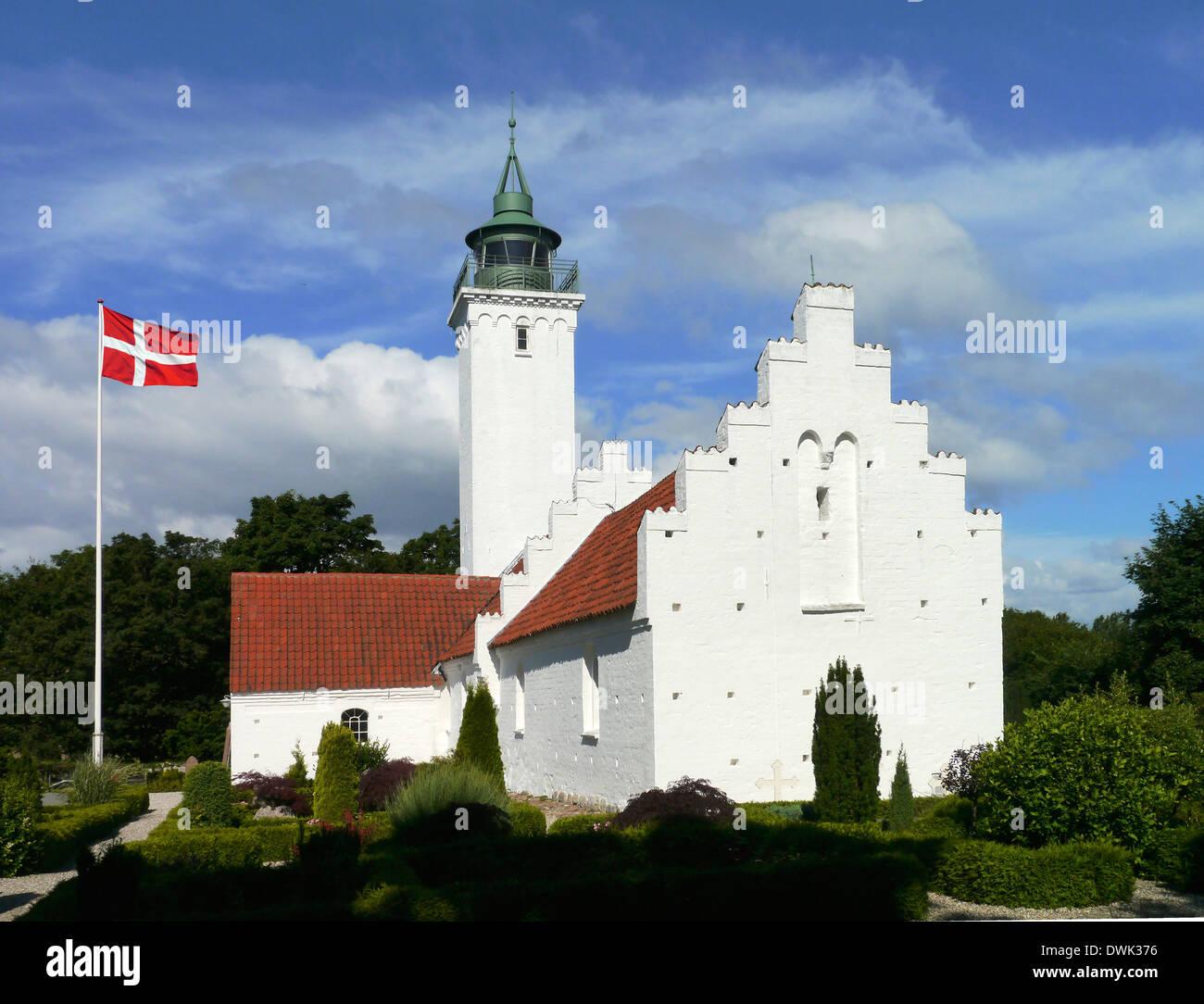 lighthouse and church of tunø, denmark - Stock Image