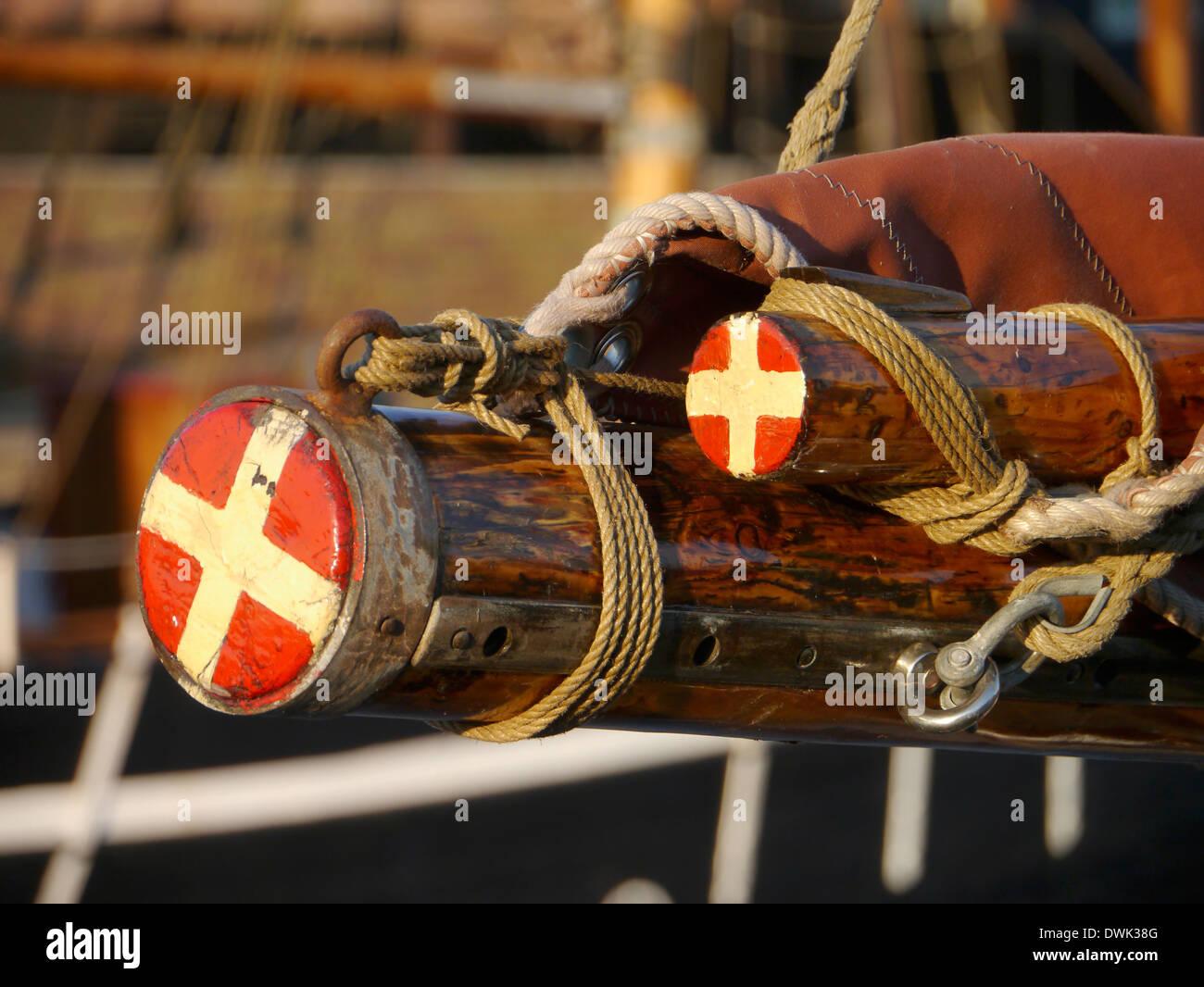 detail of an old danish sailboat, denmark - Stock Image