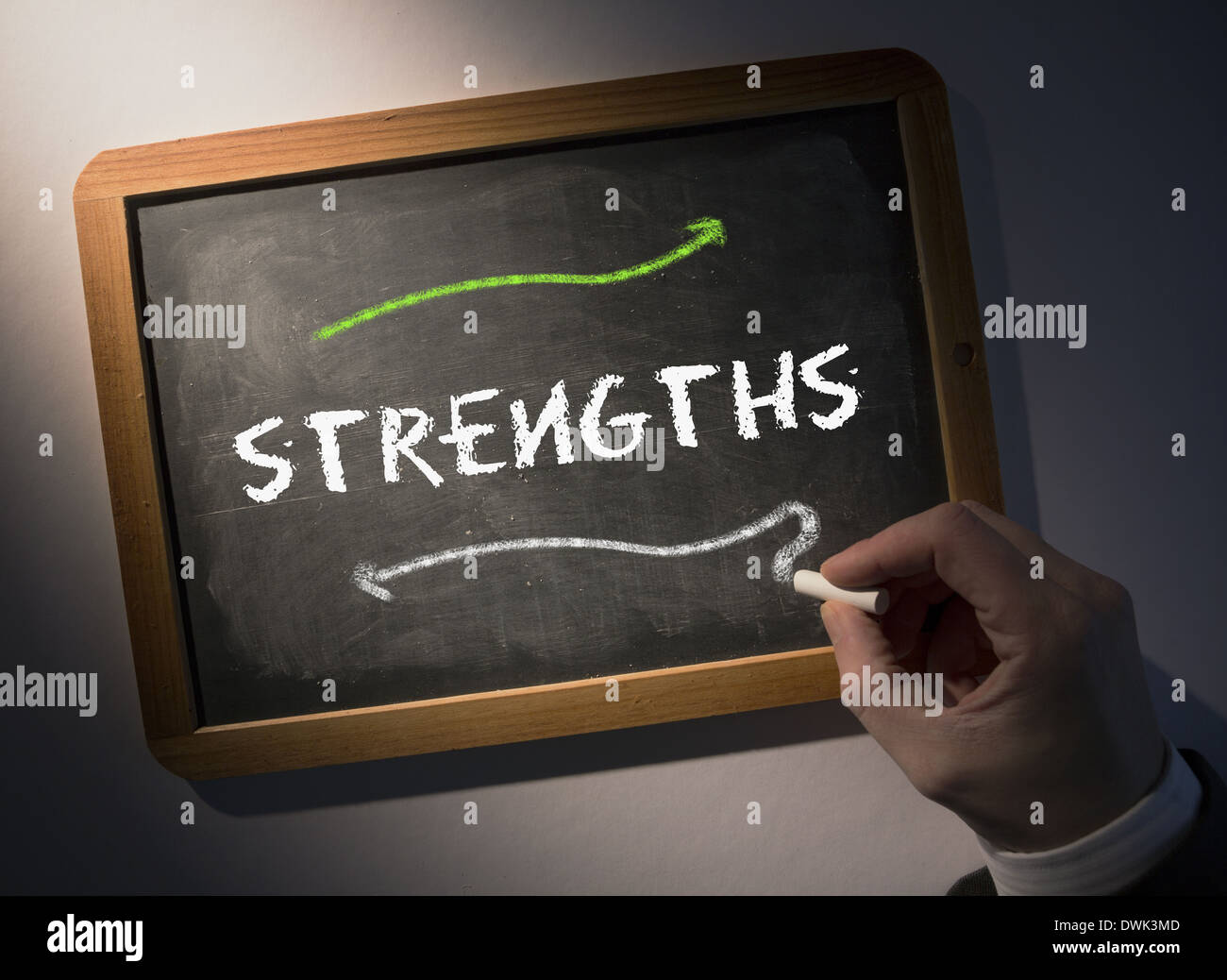 Hand writing Strengths on chalkboard - Stock Image