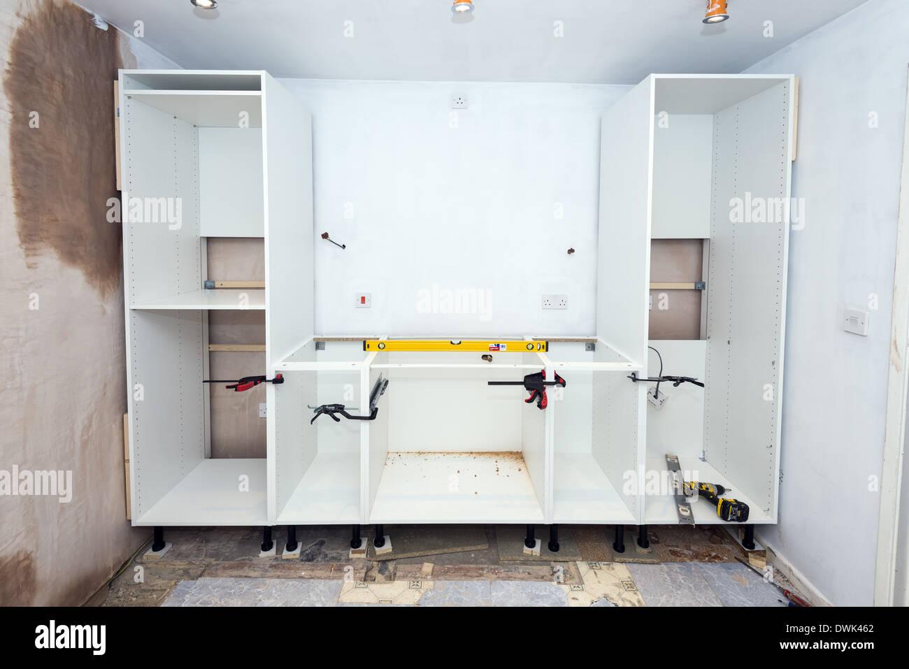 Diy Half Built Kitchen Installation Stock Photo Alamy