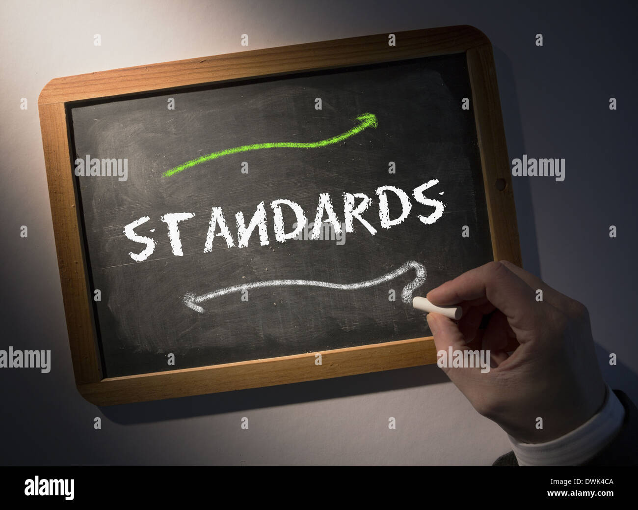 Hand writing Standards on chalkboard - Stock Image