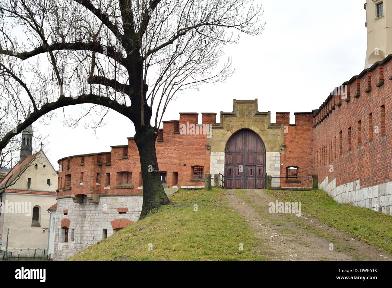 North entrance defensive wall of the Royal Castle on Wawel Hill  Zamek Królewski na Wawelu - Stock Image