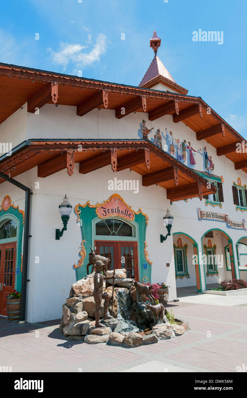 Washington, Leavenworth, established 1890,1960s began the remodel to look of a Bavarian Village, Festhalle Stock Photo
