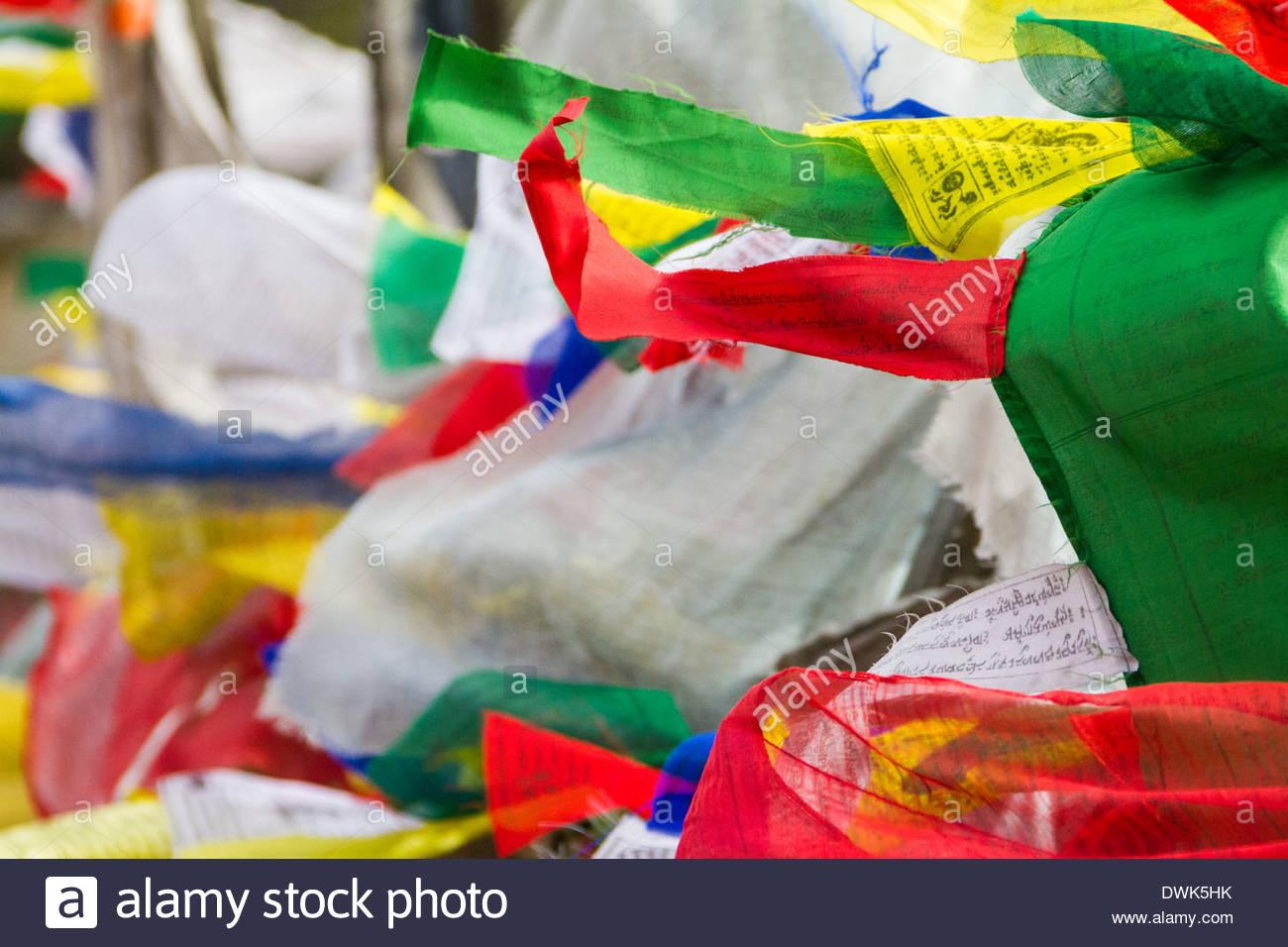 Prayer Flags Billow In The Wind, Bhutan - Stock Image