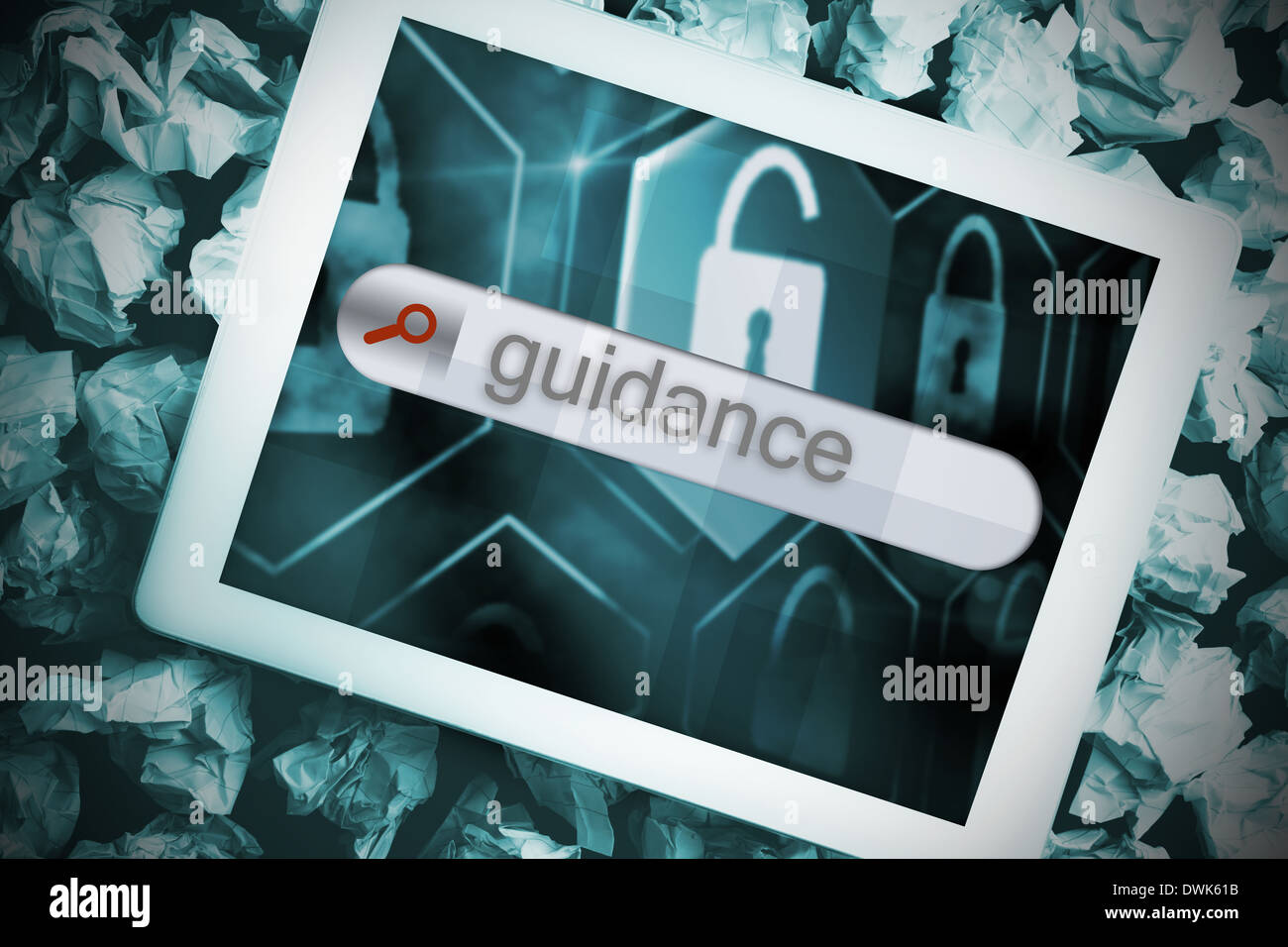 Guidance in search bar on tablet screen - Stock Image