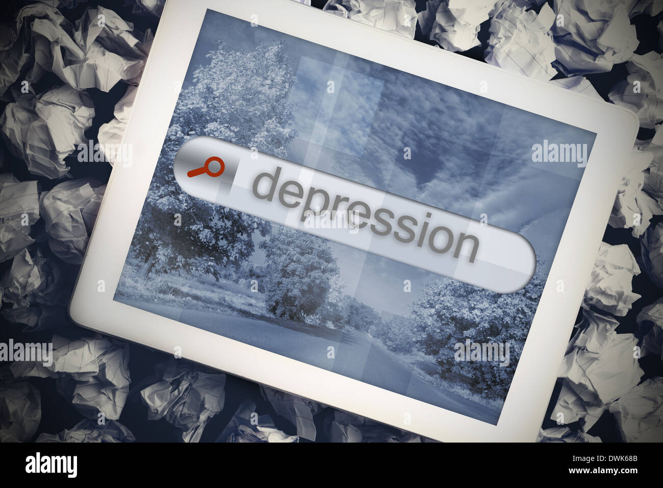 Depression in search bar on tablet screen - Stock Image