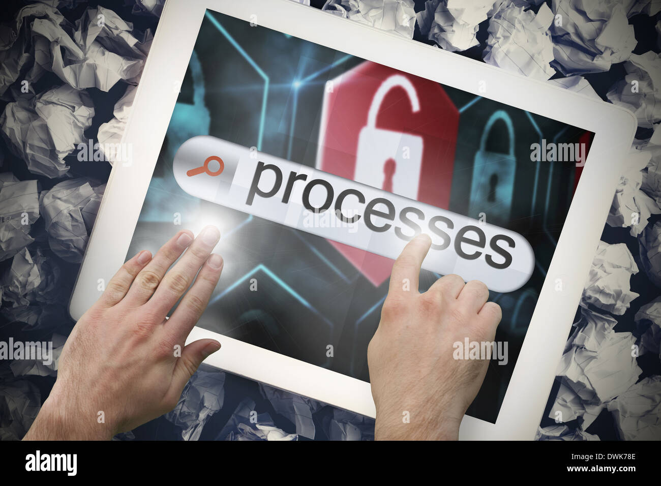 Hand touching processes on search bar on tablet screen - Stock Image