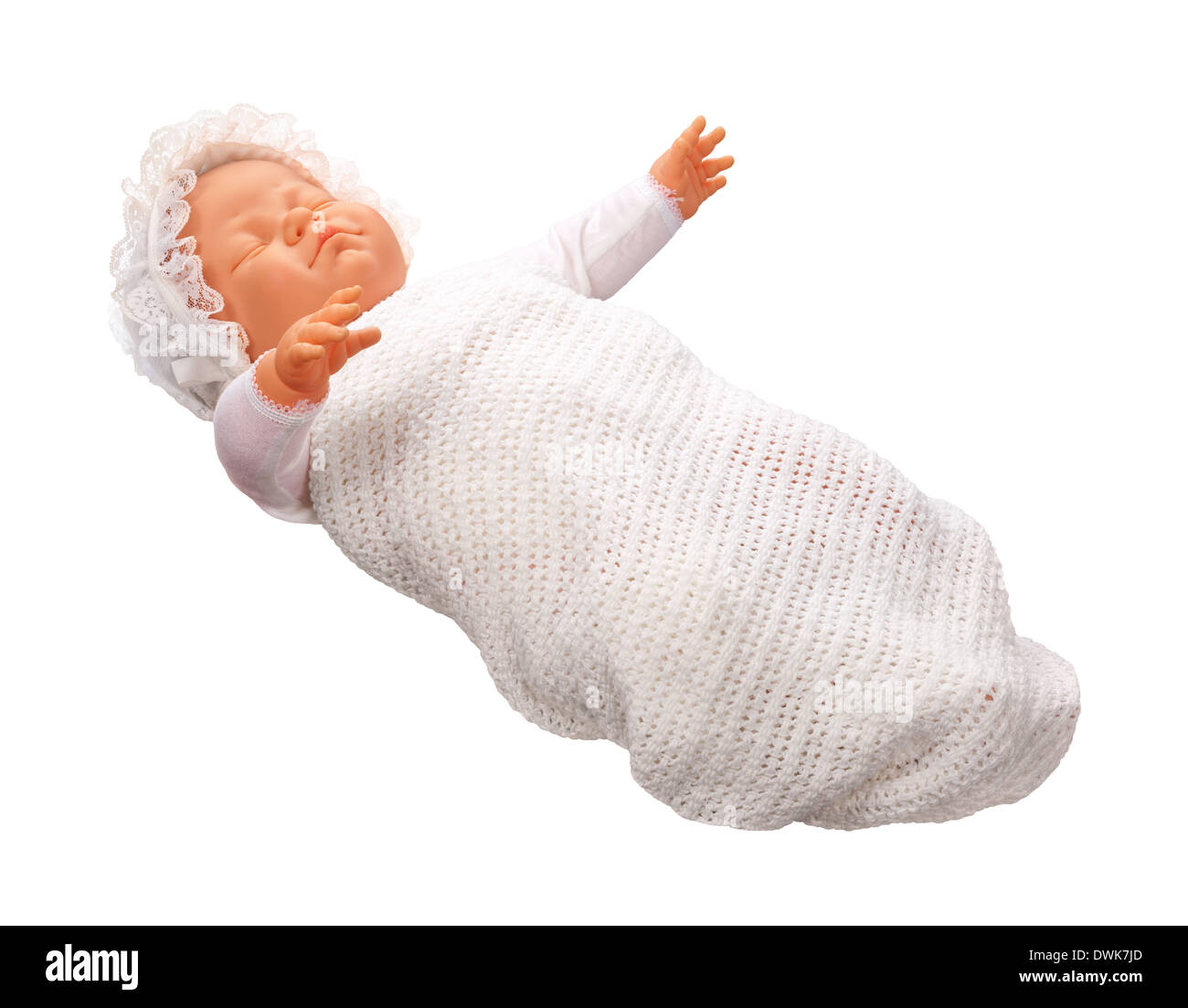 Antique Baby Doll isolated on a white background. - Stock Image