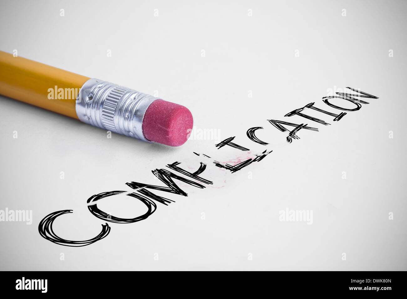 Complication against pencil with an eraser - Stock Image