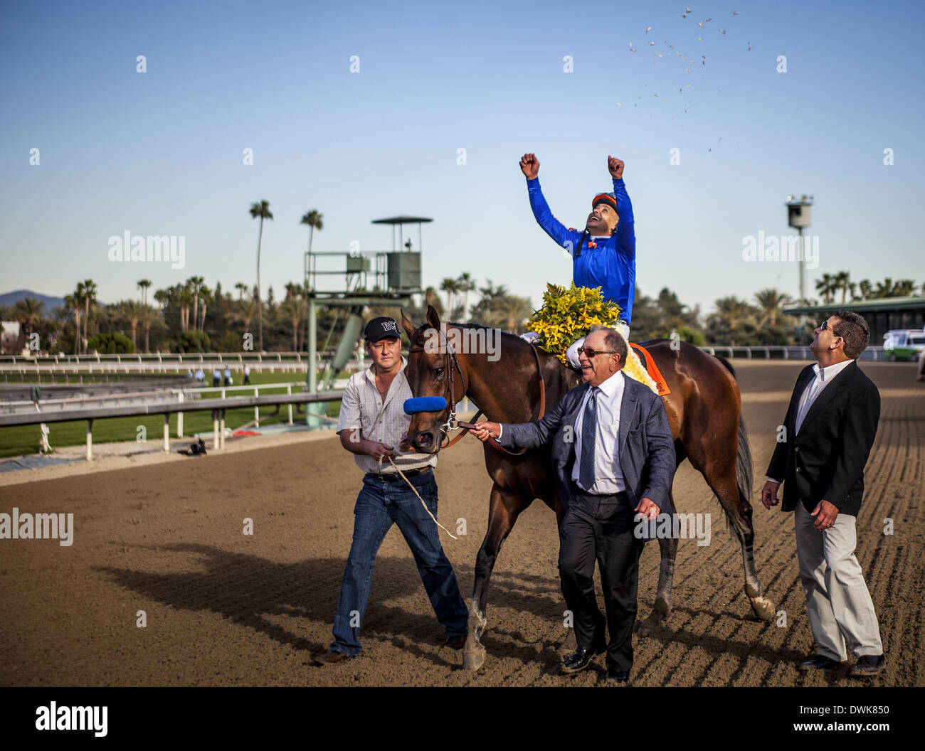 Arcadia, CA, USA. 8th Mar, 2014. Game on Dude, ridden by Mike Smith wins the Santa Anita Handicap (G1) at Santa Anita Park on March 8, 2014 in Arcadia, California © Alex Evers/Eclipse Sportswire/Eclipse/ZUMAPRESS.com/Alamy Live News - Stock Image