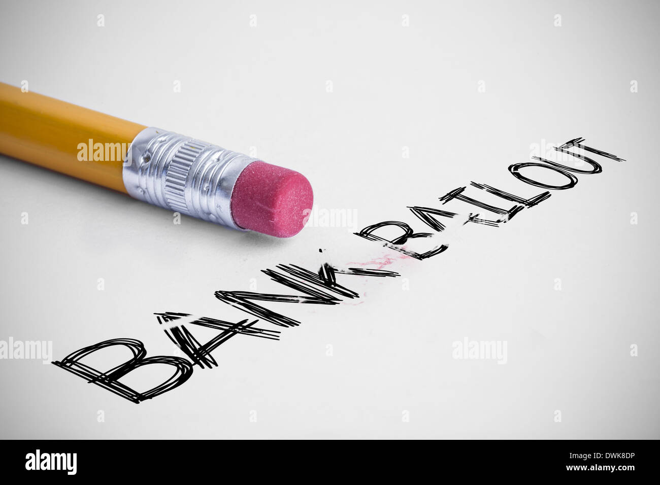 Bank bailout against pencil with an eraser - Stock Image