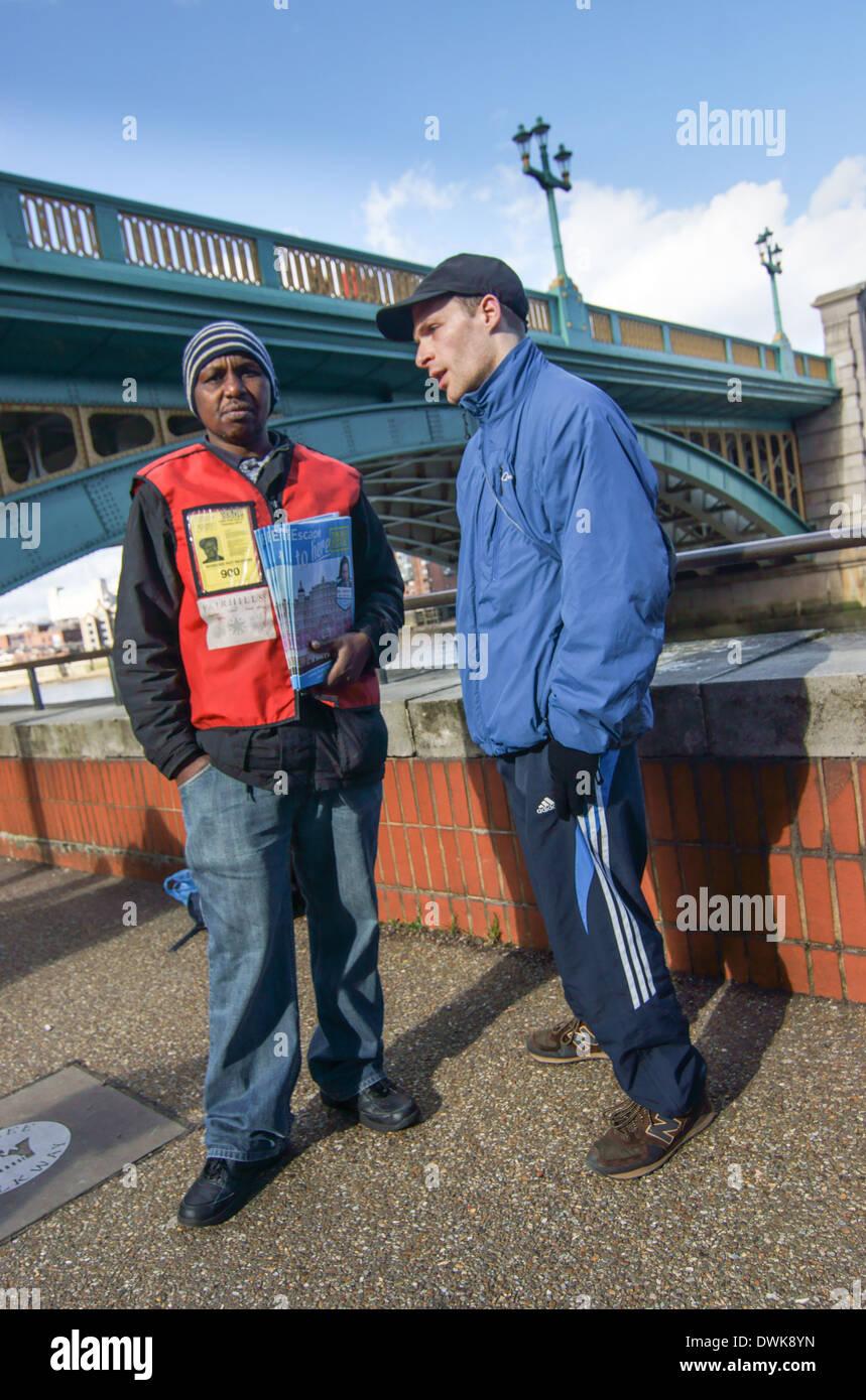 big issue seller. Homeless men in London - Stock Image