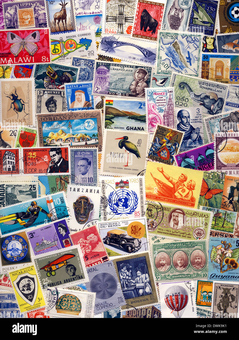 Collection of Postage Stamps of the World - Philately - Stock Image
